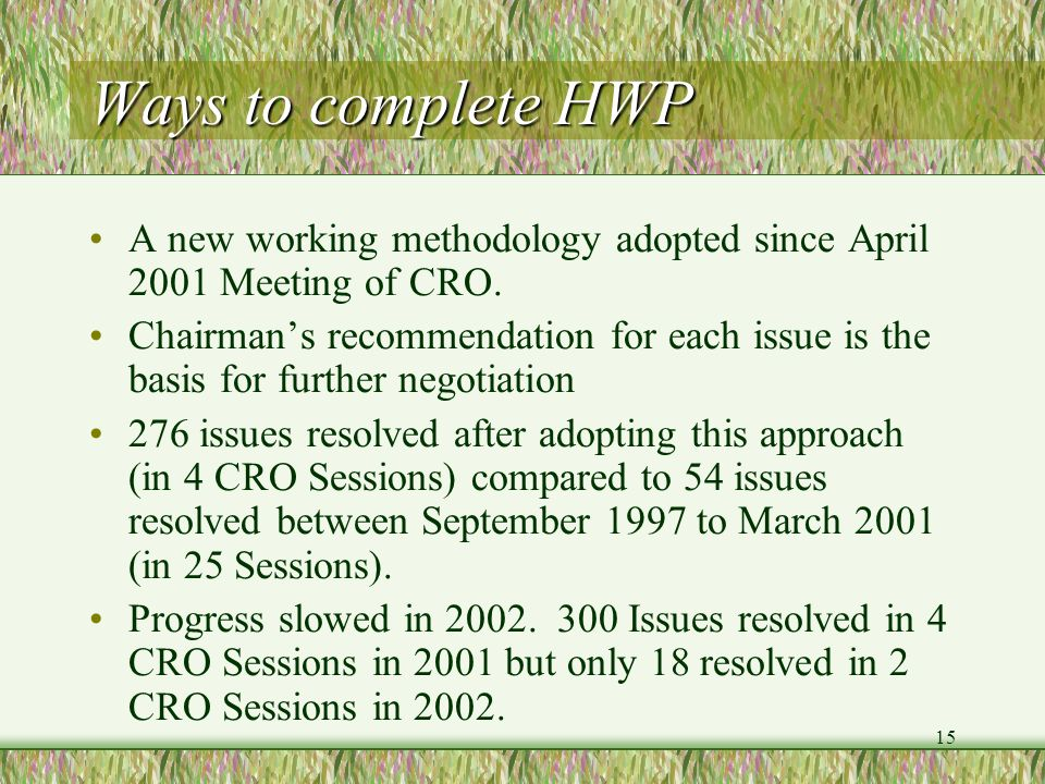 15 Ways to complete HWP A new working methodology adopted since April 2001 Meeting of CRO. Chairmans recommendation for each issue is the basis for fu