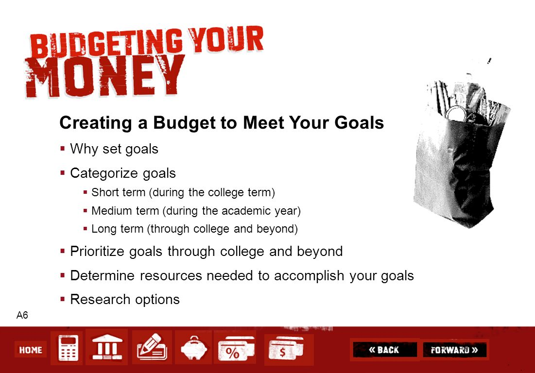 A6 Creating a Budget to Meet Your Goals Why set goals Categorize goals Short term (during the college term) Medium term (during the academic year) Lon