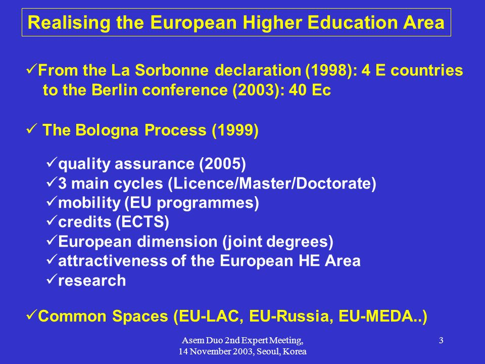 Asem Duo 2nd Expert Meeting, 14 November 2003, Seoul, Korea 3 Realising the European Higher Education Area From the La Sorbonne declaration (1998): 4