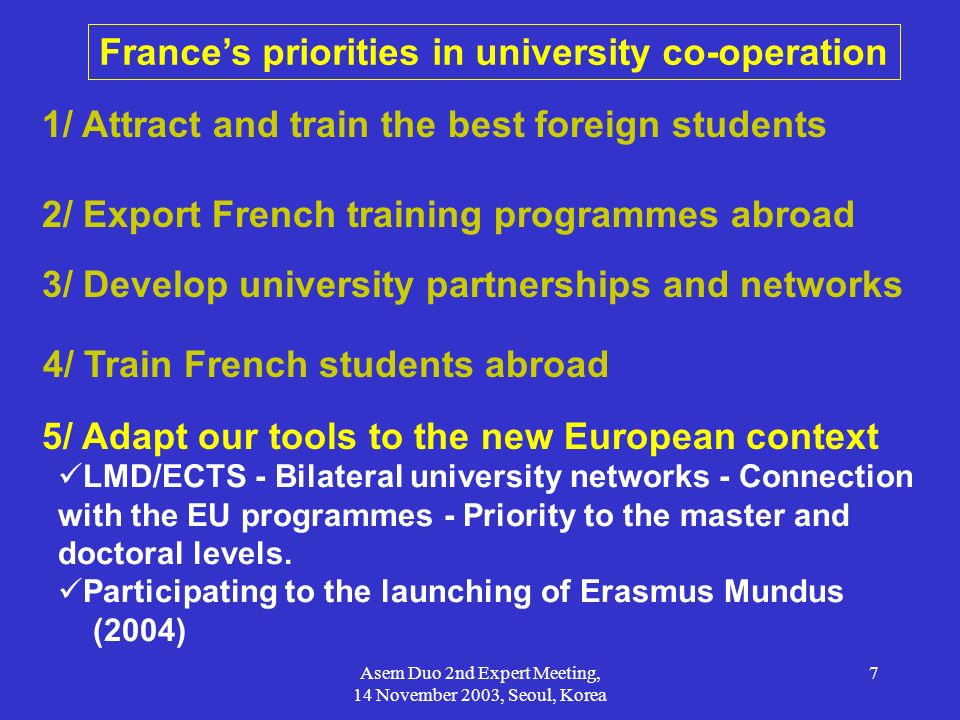 Asem Duo 2nd Expert Meeting, 14 November 2003, Seoul, Korea 8 Duo-France: goals and aim Respect of the core principles - Mobility of students and teachers - Pairing of exchanges - Standardized duration of stay in units - Grants calculated on a pair (duo) basis - Use of the secretariat as the focal point Specific trends - Focus on higher education (all disciplines) - Support mobility in the framework of co-operation projects - Development/creation of new joint programmes at Master level (joint/double diploma) - Links with existing multilateral/EU programs