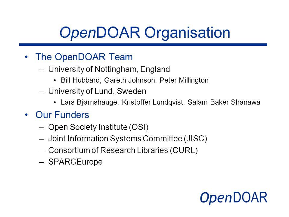 OpenDOAR Organisation The OpenDOAR Team –University of Nottingham, England Bill Hubbard, Gareth Johnson, Peter Millington –University of Lund, Sweden