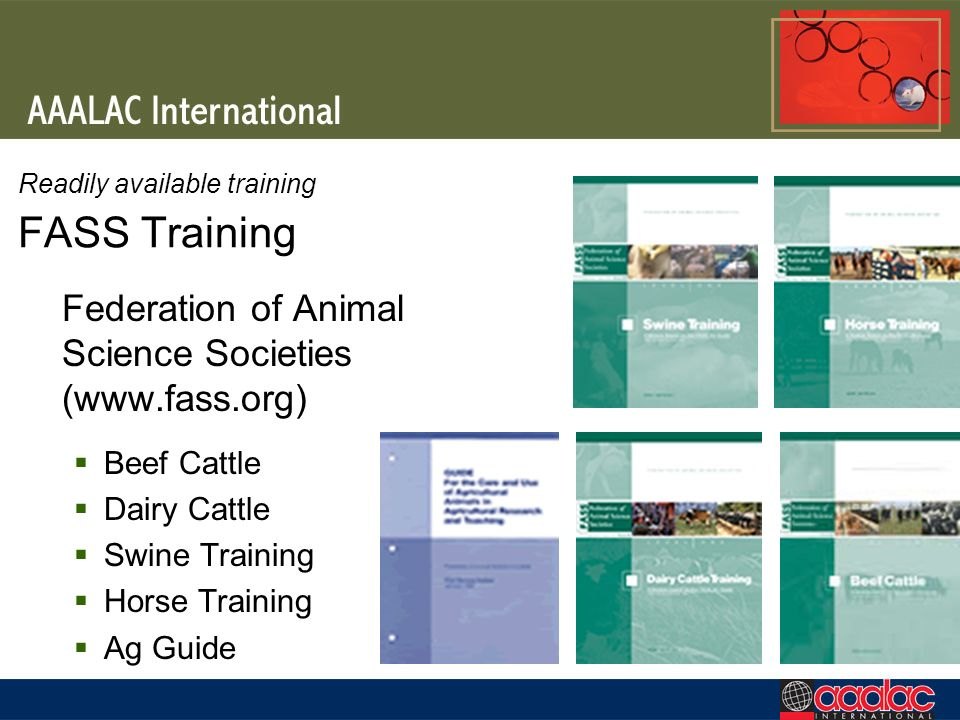 Readily available training FASS Training Federation of Animal Science Societies (www.fass.org) Beef Cattle Dairy Cattle Swine Training Horse Training