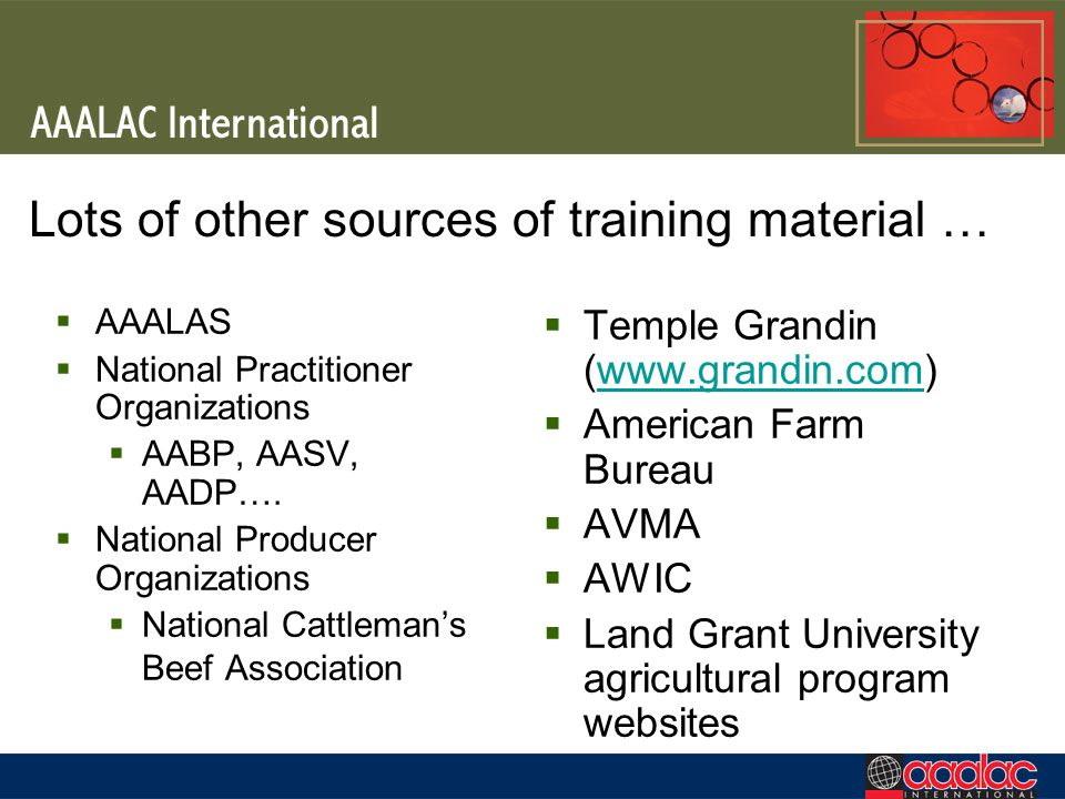 Lots of other sources of training material … AAALAS National Practitioner Organizations AABP, AASV, AADP…. National Producer Organizations National Ca