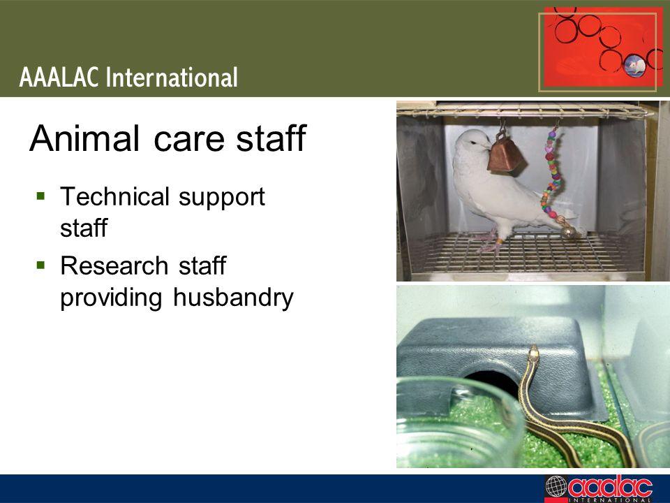 Animal care staff Technical support staff Research staff providing husbandry
