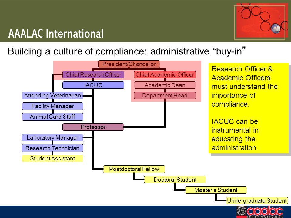 Building a culture of compliance: administrative buy-in Research Officer & Academic Officers must understand the importance of compliance. IACUC can b