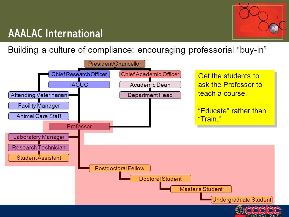 Building a culture of compliance: encouraging professorial buy-in Get the students to ask the Professor to teach a course. Educate rather than Train.