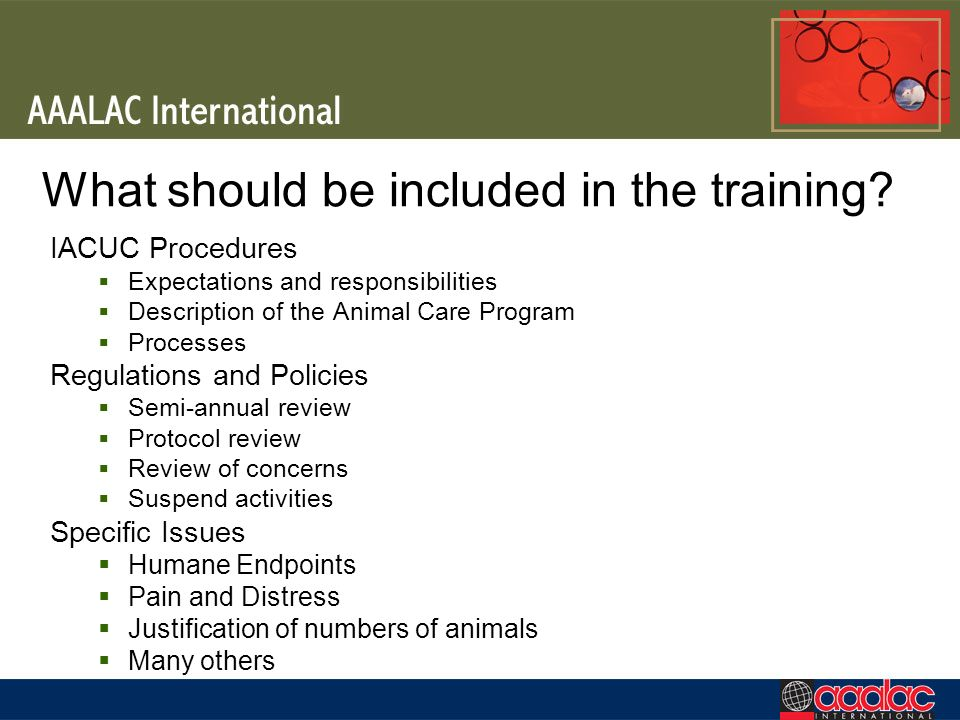 What should be included in the training? IACUC Procedures Expectations and responsibilities Description of the Animal Care Program Processes Regulatio