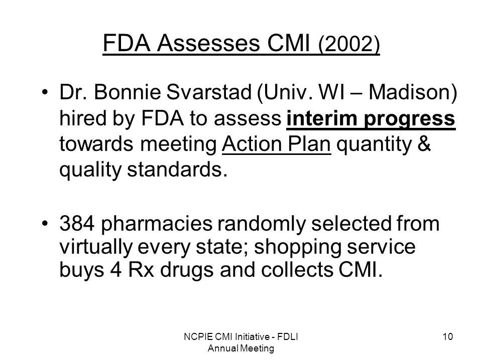 NCPIE CMI Initiative - FDLI Annual Meeting 10 FDA Assesses CMI (2002) Dr.