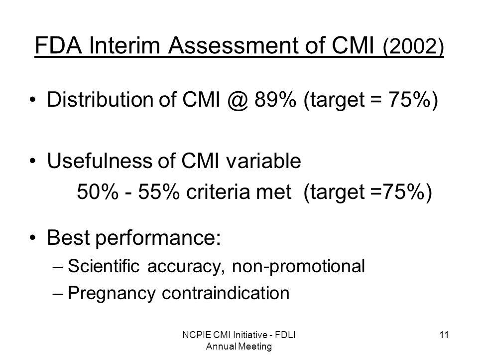 NCPIE CMI Initiative - FDLI Annual Meeting 11 FDA Interim Assessment of CMI (2002) Distribution of CMI @ 89% (target = 75%) Usefulness of CMI variable 50% - 55% criteria met (target =75%) Best performance: –Scientific accuracy, non-promotional –Pregnancy contraindication
