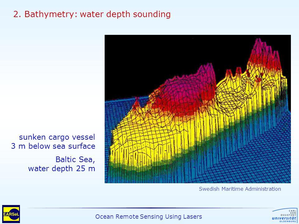 Ocean Remote Sensing Using Lasers 2. Bathymetry: water depth sounding sunken cargo vessel 3 m below sea surface Baltic Sea, water depth 25 m Swedish M