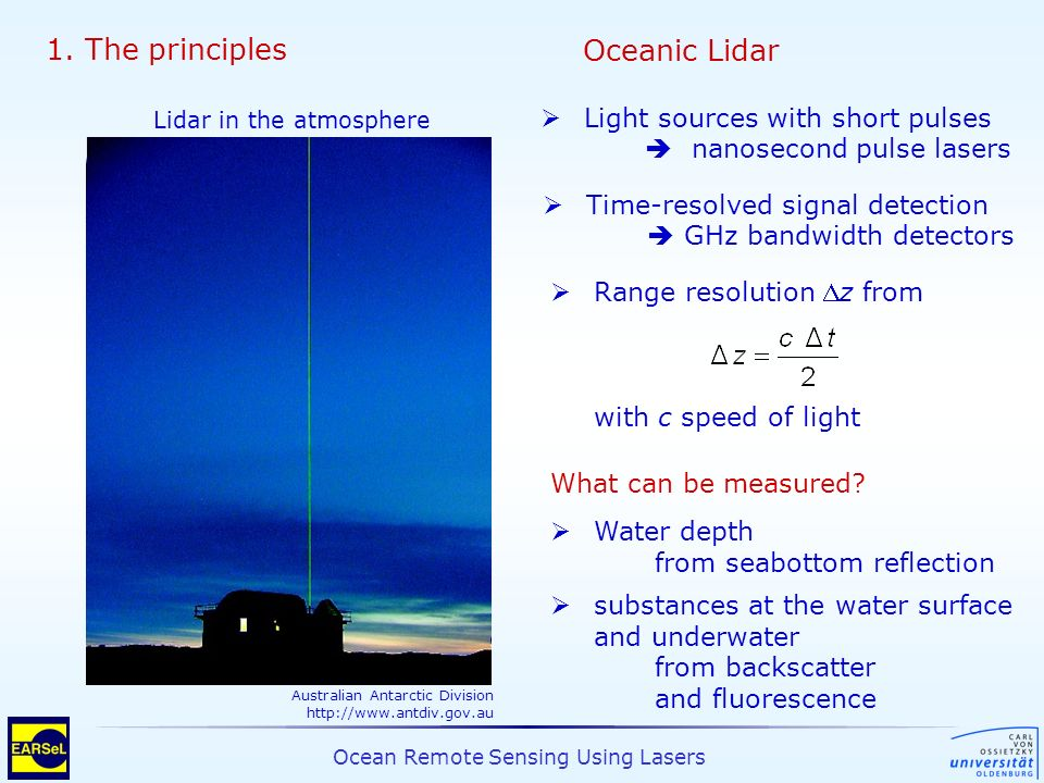 Ocean Remote Sensing Using Lasers 1. The principles Range resolution z from with c speed of light What can be measured? Water depth from seabottom ref