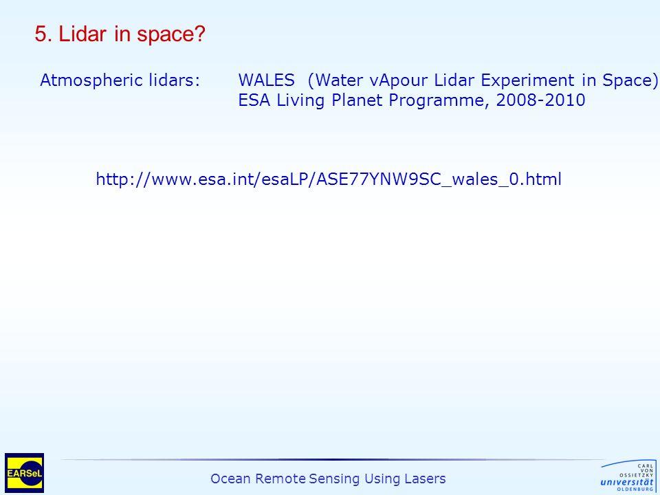 Ocean Remote Sensing Using Lasers 5. Lidar in space? Atmospheric lidars:WALES (Water vApour Lidar Experiment in Space) ESA Living Planet Programme, 20