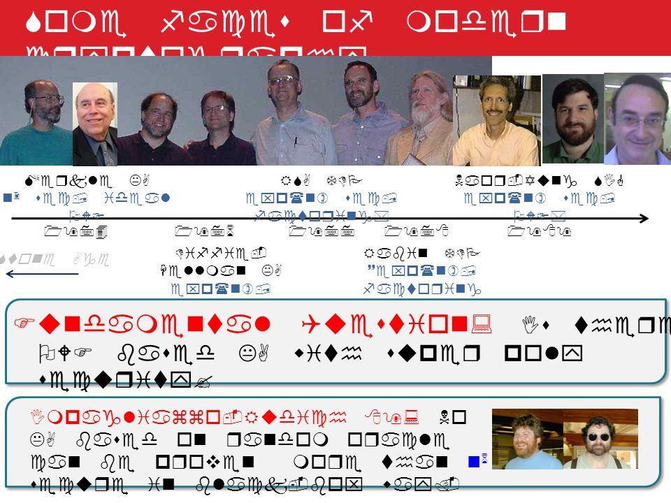 Some faces of modern cryptography Stone Age 1974 Merkle KA n 2 sec, ideal OWF 1976 Diffie- Hellman KA exp(n), ~dlog* 19781977 RSA TDP exp(n) sec, fact