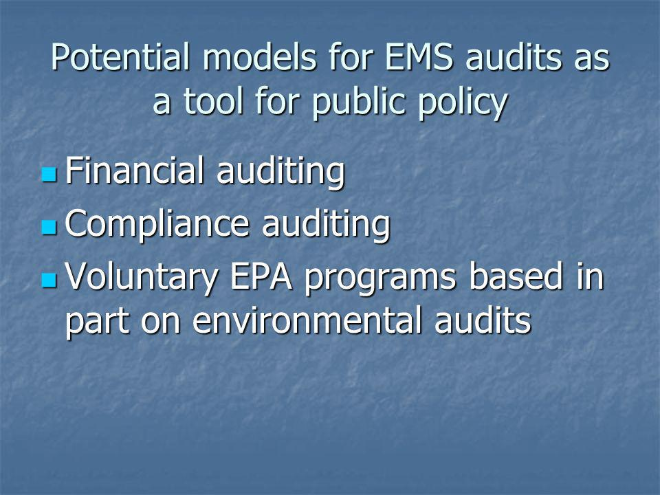 Potential models for EMS audits as a tool for public policy Financial auditing Financial auditing Compliance auditing Compliance auditing Voluntary EP