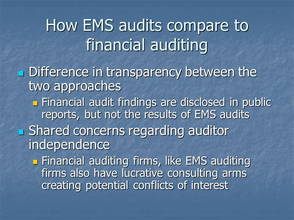 How EMS audits compare to financial auditing Difference in transparency between the two approaches Difference in transparency between the two approach