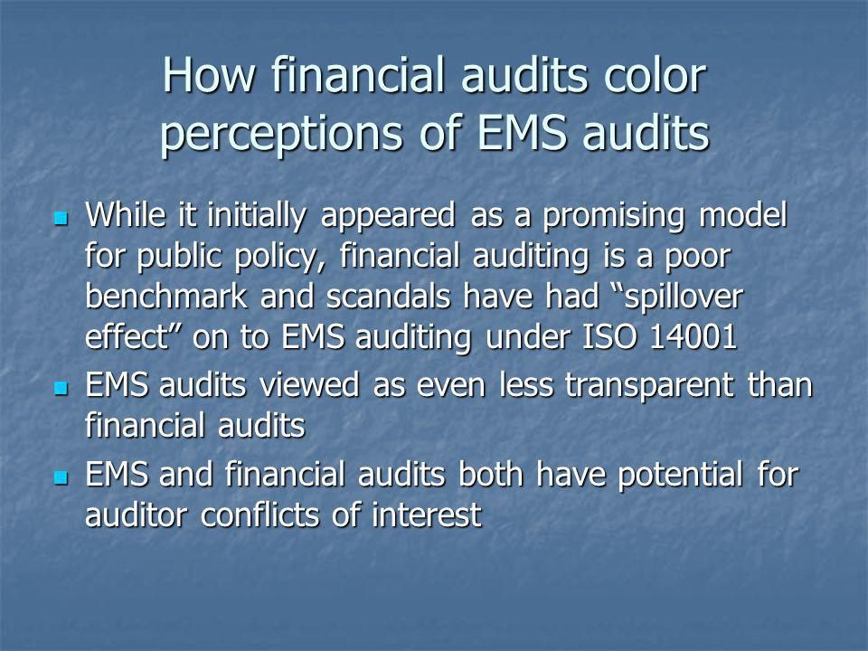 How financial audits color perceptions of EMS audits While it initially appeared as a promising model for public policy, financial auditing is a poor