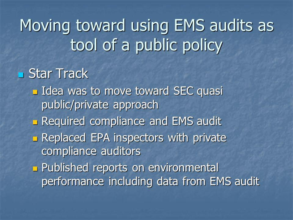 Moving toward using EMS audits as tool of a public policy Star Track Star Track Idea was to move toward SEC quasi public/private approach Idea was to
