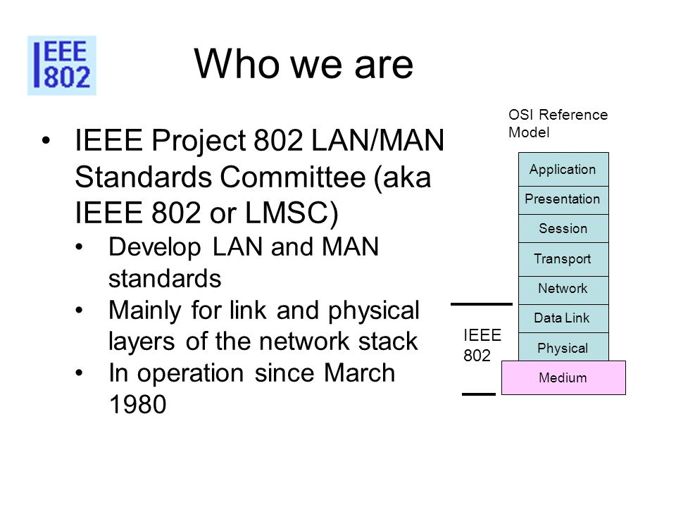 Who we are IEEE Project 802 LAN/MAN Standards Committee (aka IEEE 802 or LMSC) Develop LAN and MAN standards Mainly for link and physical layers of th