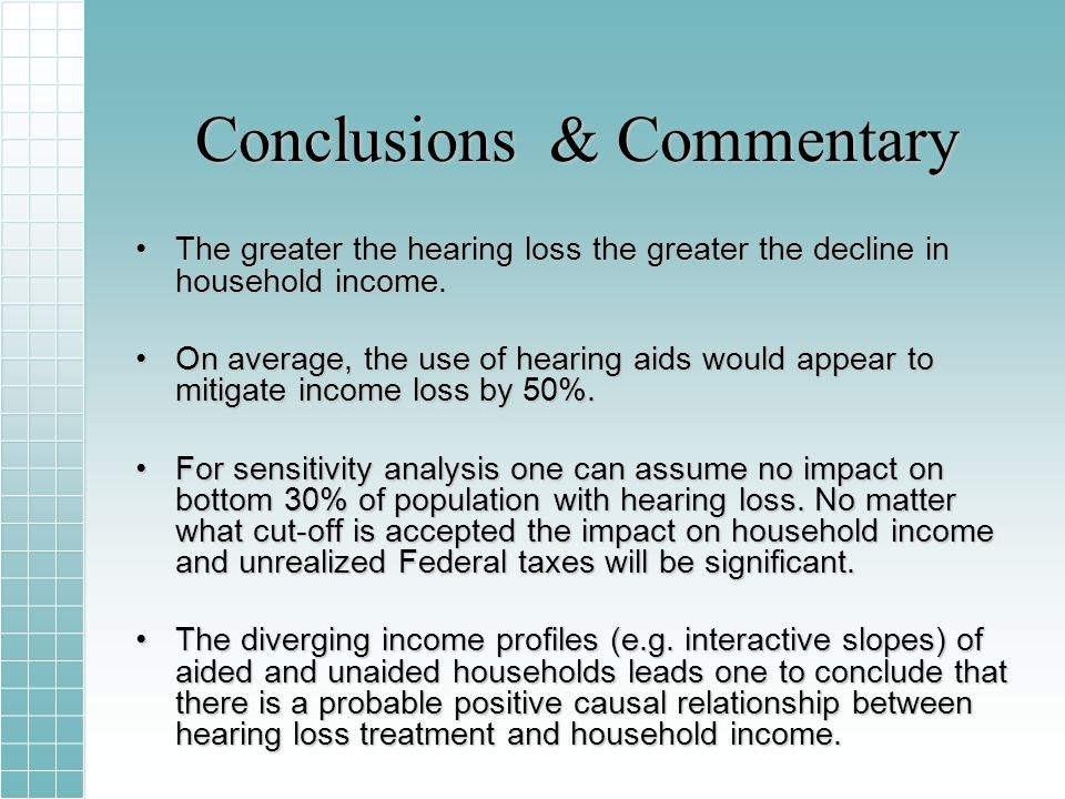 Conclusions & Commentary The greater the hearing loss the greater the decline in household income.The greater the hearing loss the greater the decline