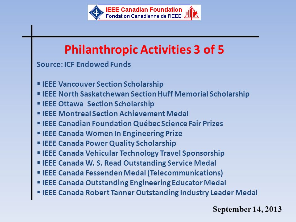 September 14, 2013 Philanthropic Activities 3 of 5 Source: ICF Endowed Funds IEEE Vancouver Section Scholarship IEEE North Saskatchewan Section Huff Memorial Scholarship IEEE Ottawa Section Scholarship IEEE Montreal Section Achievement Medal IEEE Canadian Foundation Québec Science Fair Prizes IEEE Canada Women In Engineering Prize IEEE Canada Power Quality Scholarship IEEE Canada Vehicular Technology Travel Sponsorship IEEE Canada W.