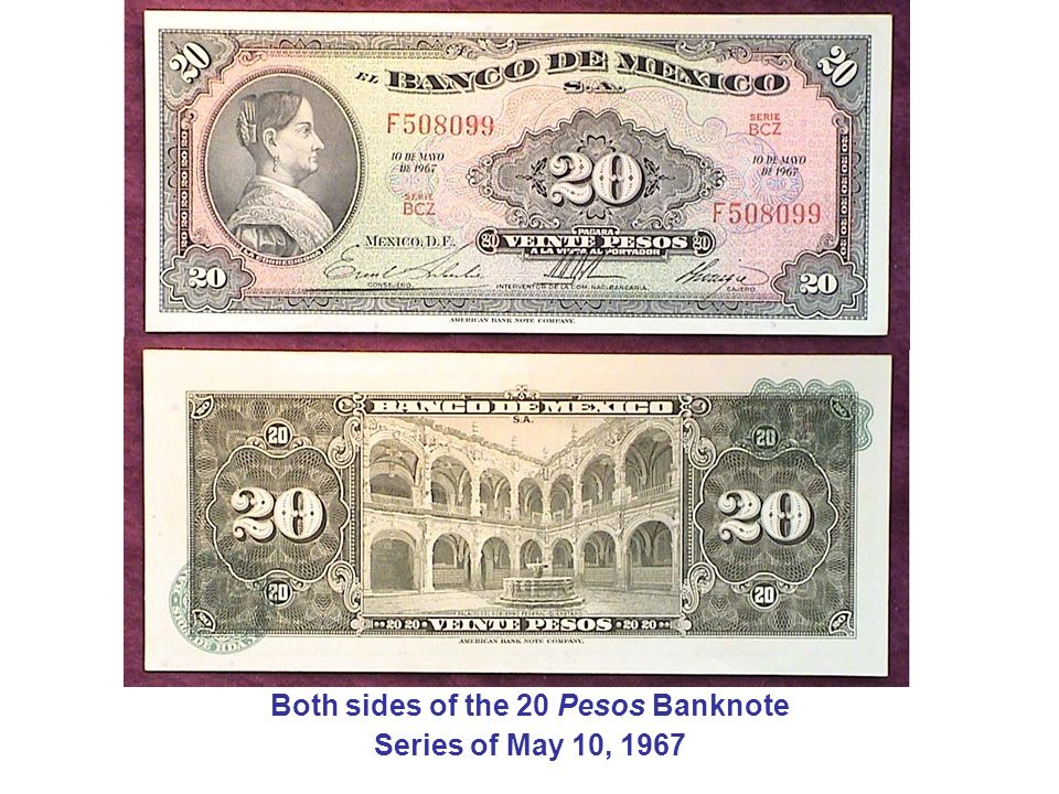 Both sides of the 20 Pesos Banknote Series of May 10, 1967