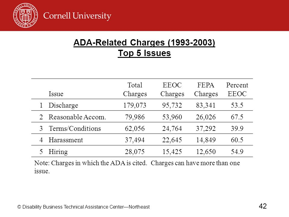 © Disability Business Technical Assistance CenterNortheast 42 ADA-Related Charges (1993-2003) Top 5 Issues Issue Total Charges EEOC Charges FEPA Charg