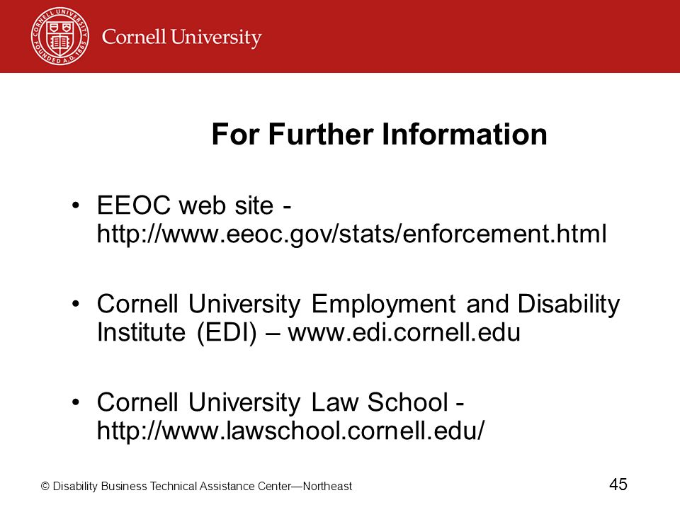 © Disability Business Technical Assistance CenterNortheast 45 For Further Information EEOC web site - http://www.eeoc.gov/stats/enforcement.html Corne