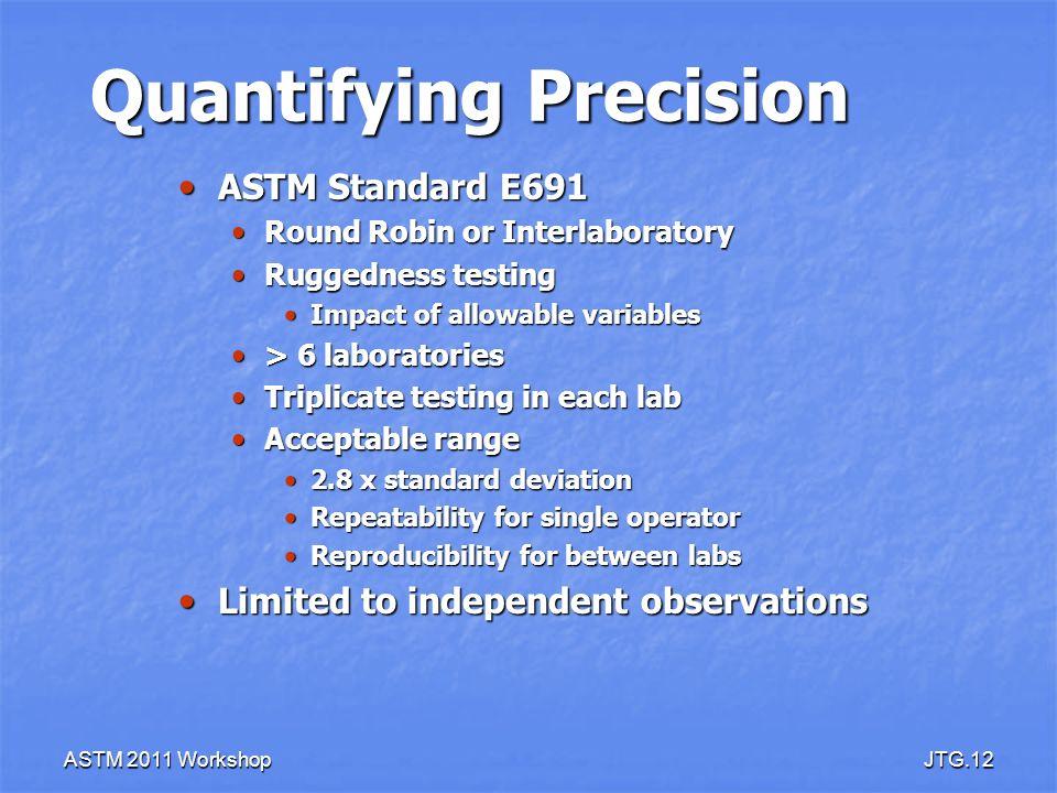 ASTM 2011 WorkshopJTG.12 Quantifying Precision ASTM Standard E691 ASTM Standard E691 Round Robin or Interlaboratory Round Robin or Interlaboratory Rug