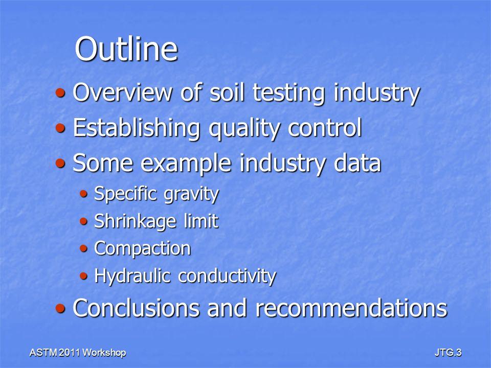 ASTM 2011 WorkshopJTG.3 Outline Overview of soil testing industry Overview of soil testing industry Establishing quality control Establishing quality
