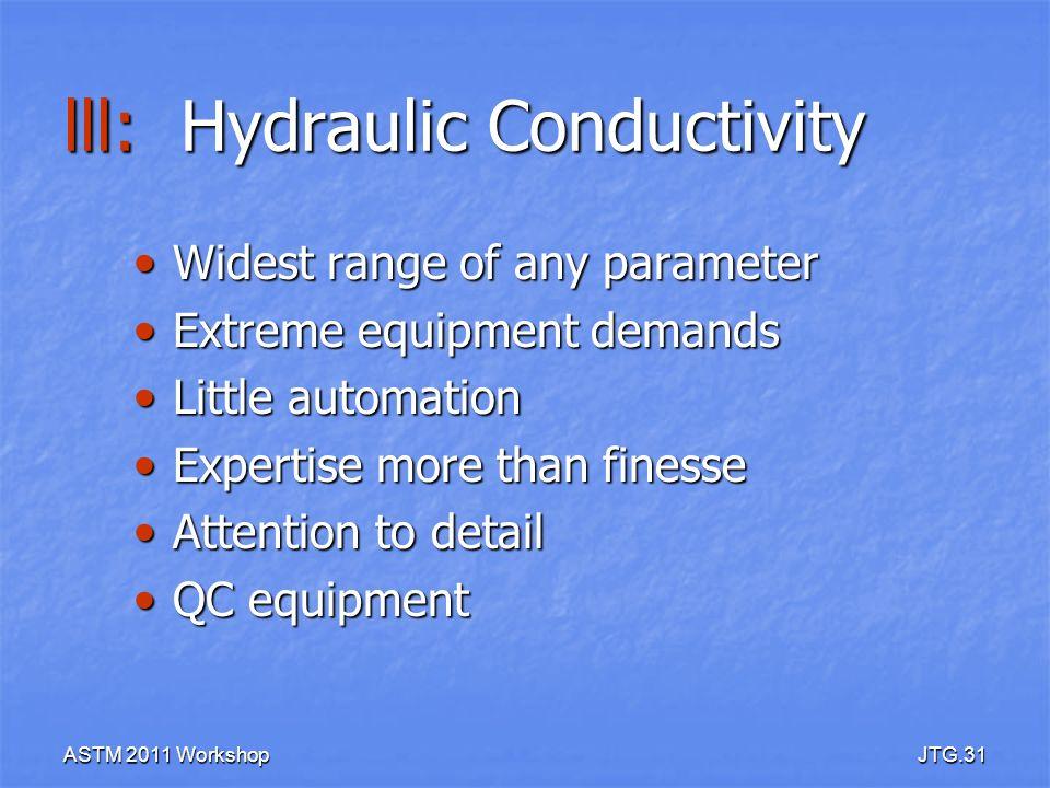 ASTM 2011 WorkshopJTG.31 lll: Hydraulic Conductivity Widest range of any parameter Widest range of any parameter Extreme equipment demands Extreme equ