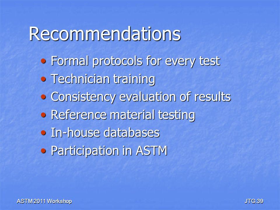 ASTM 2011 WorkshopJTG.39 Recommendations Formal protocols for every test Formal protocols for every test Technician training Technician training Consi