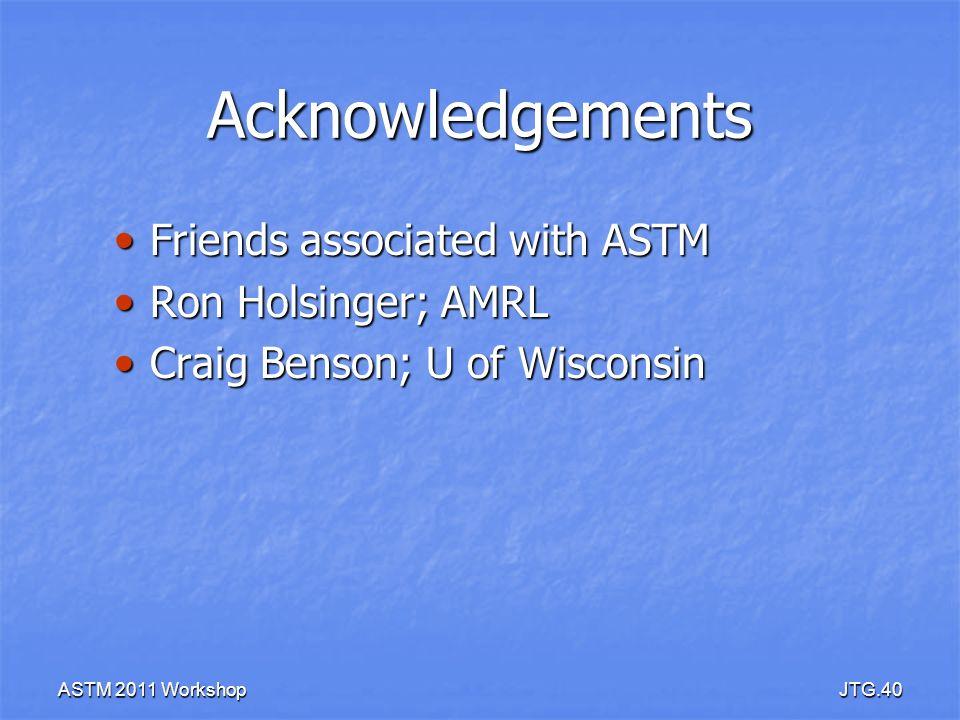 ASTM 2011 WorkshopJTG.40 Acknowledgements Friends associated with ASTM Friends associated with ASTM Ron Holsinger; AMRL Ron Holsinger; AMRL Craig Bens