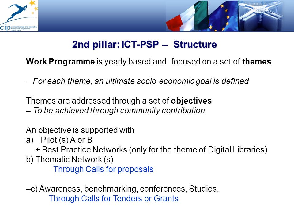 2nd pillar: ICT-PSP – Structure Work Programme is yearly based and focused on a set of themes – For each theme, an ultimate socio-economic goal is def