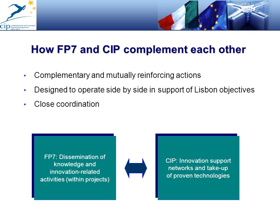 How FP7 and CIP complement each other Complementary and mutually reinforcing actions Designed to operate side by side in support of Lisbon objectives