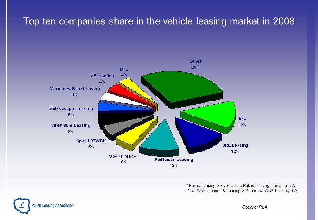 Top ten companies share in the vehicle leasing market in 2008 * Pekao Leasing Sp.