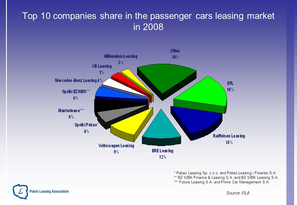 Top 10 companies share in the passenger cars leasing market in 2008 * Pekao Leasing Sp.