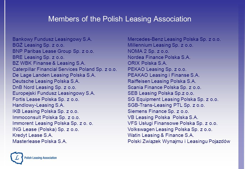 Members of the Polish Leasing Association Bankowy Fundusz Leasingowy S.A.