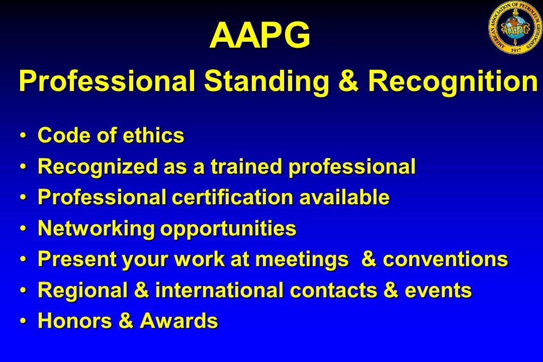 Professional Standing & Recognition Code of ethicsCode of ethics Recognized as a trained professionalRecognized as a trained professional Professional