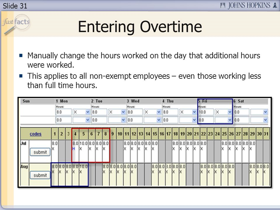 Slide 31 Entering Overtime Manually change the hours worked on the day that additional hours were worked. This applies to all non-exempt employees – e