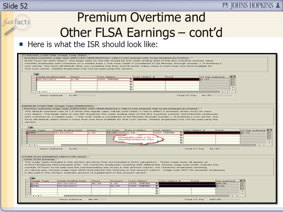 Slide 52 Premium Overtime and Other FLSA Earnings – contd Here is what the ISR should look like: