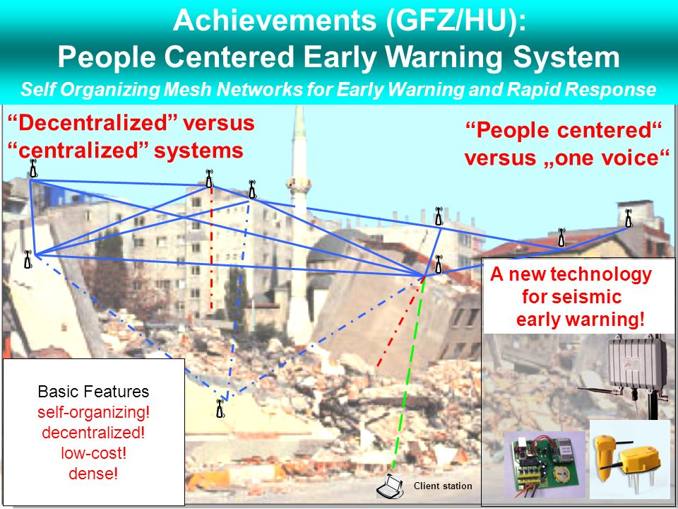 GEM Decentralized versus centralized systems Client station A new technology for seismic early warning! Basic Features self-organizing! decentralized!