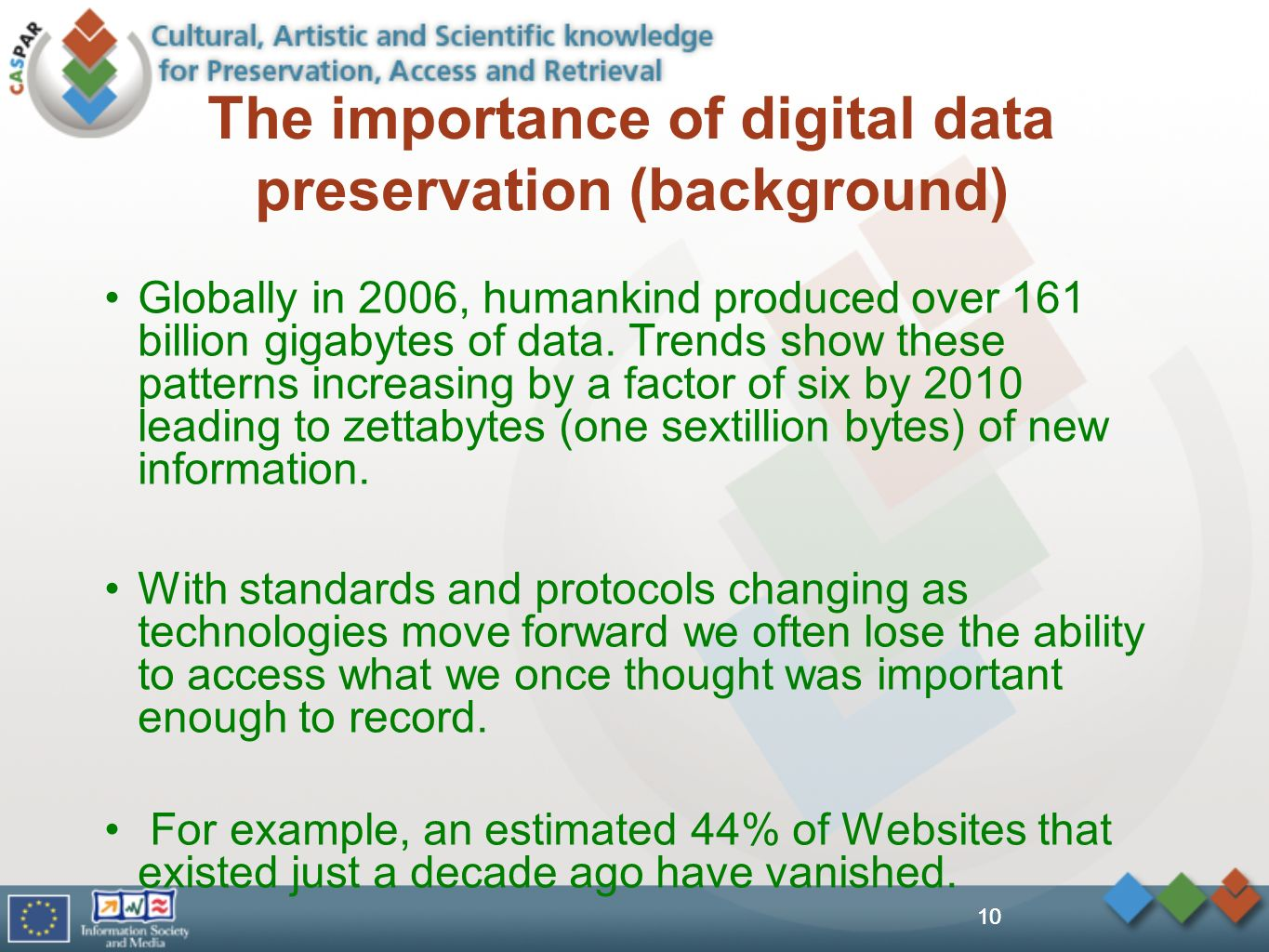 10 The importance of digital data preservation (background) Globally in 2006, humankind produced over 161 billion gigabytes of data. Trends show these