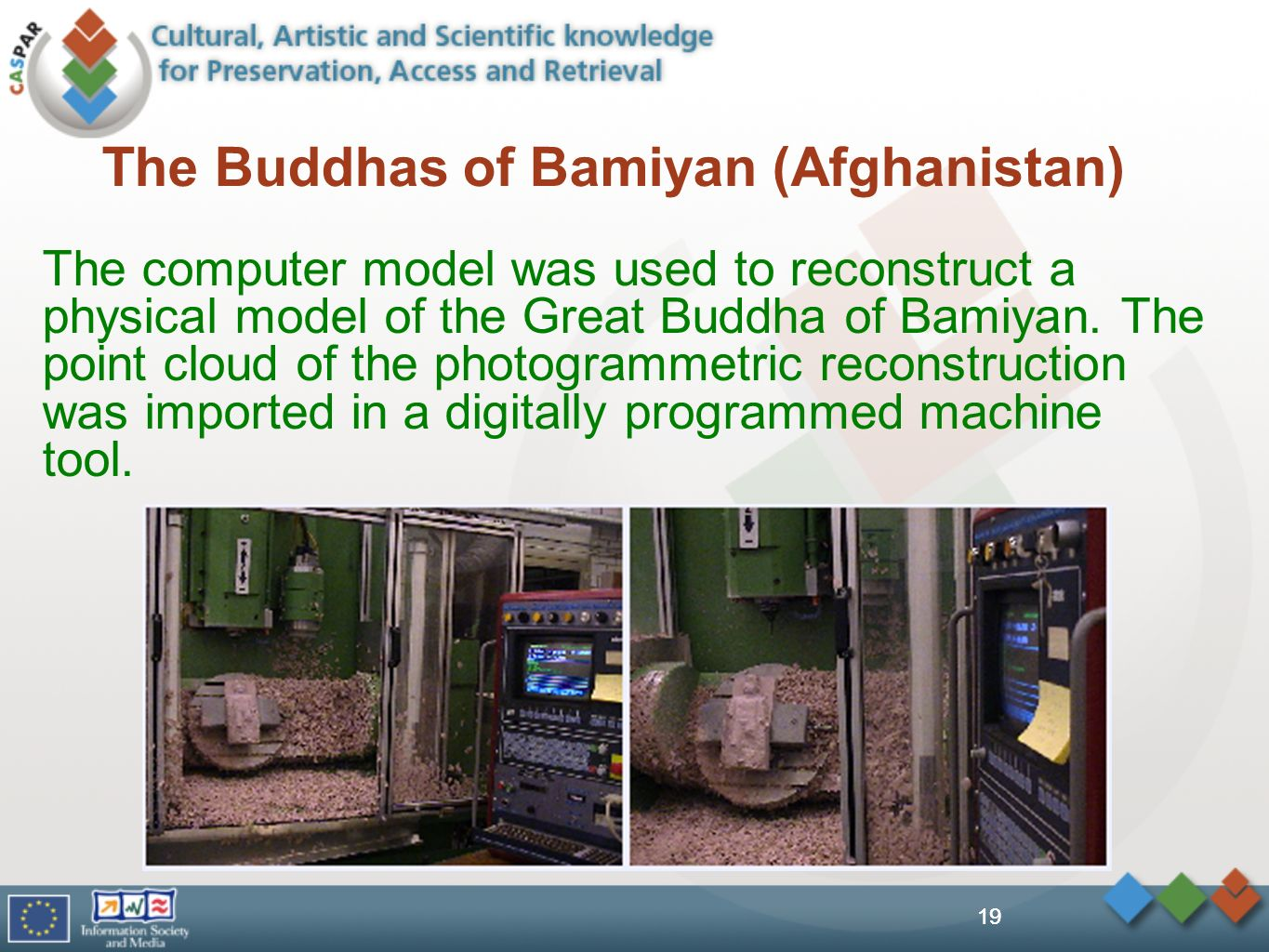 19 The Buddhas of Bamiyan (Afghanistan) The computer model was used to reconstruct a physical model of the Great Buddha of Bamiyan. The point cloud of