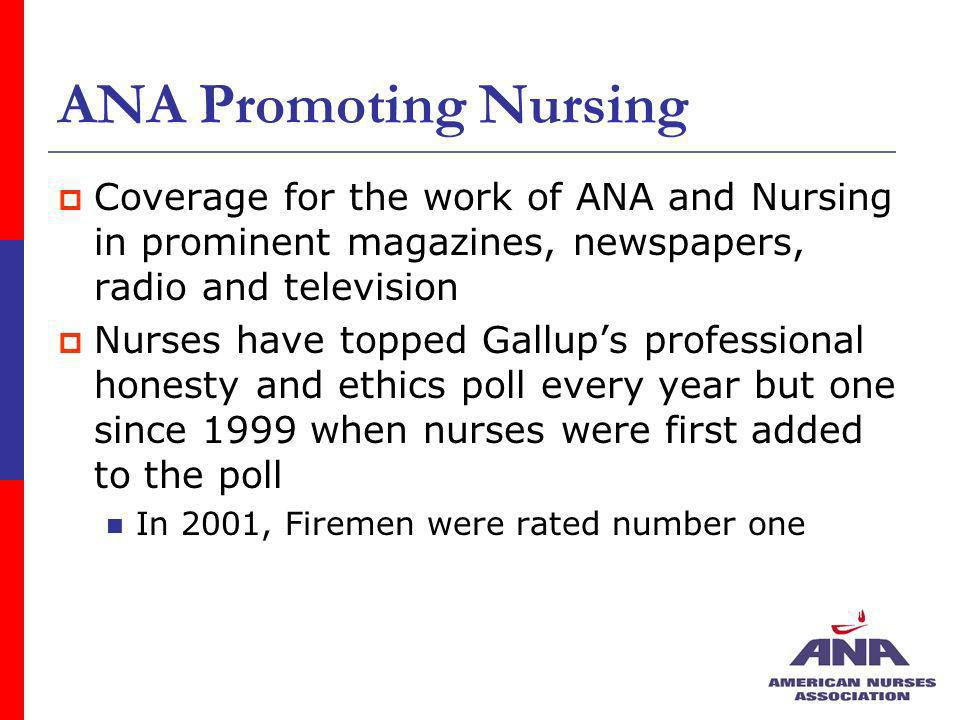 ANA Promoting Nursing Coverage for the work of ANA and Nursing in prominent magazines, newspapers, radio and television Nurses have topped Gallups pro
