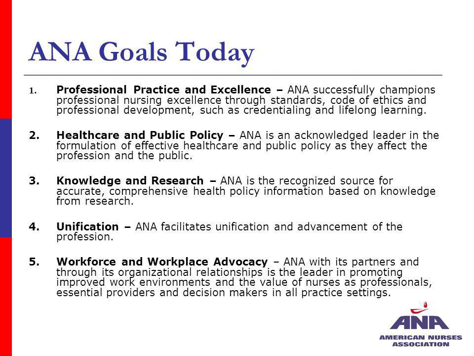 ANA Goals Today 1. Professional Practice and Excellence – ANA successfully champions professional nursing excellence through standards, code of ethics