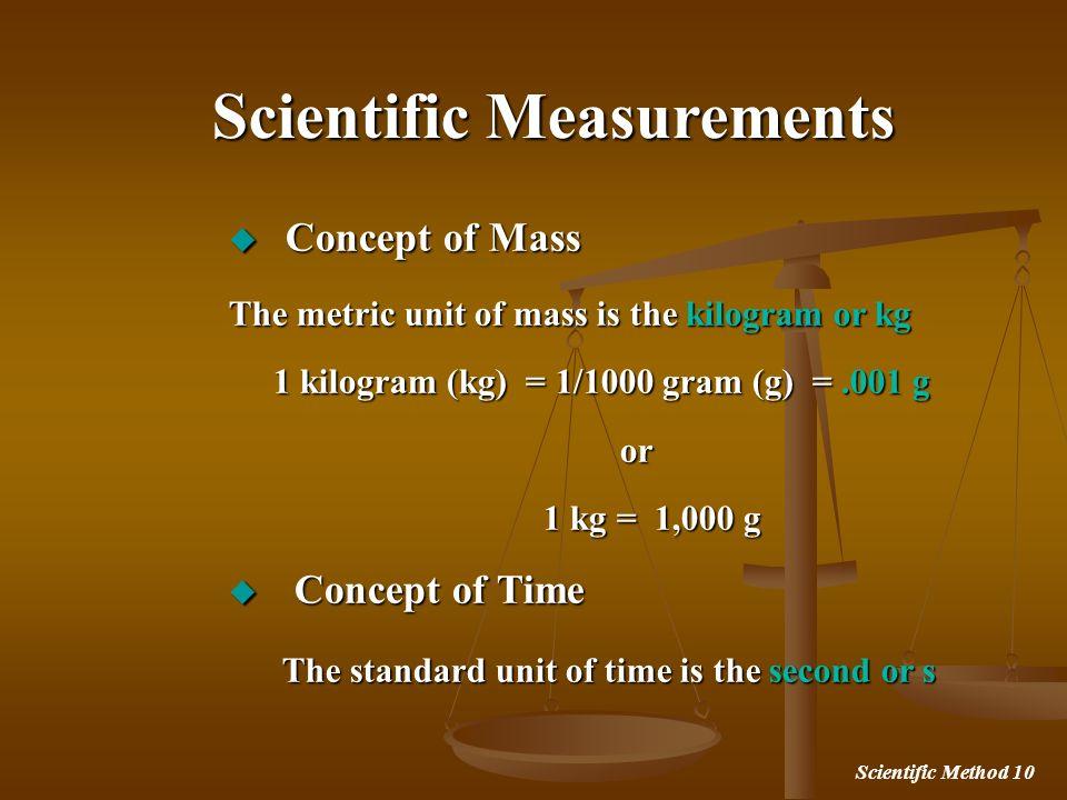 Scientific Method 10 Concept of Mass Concept of Mass The metric unit of mass is the kilogram or kg 1 kilogram (kg) = 1/1000 gram (g) =.001 g 1 kilogra