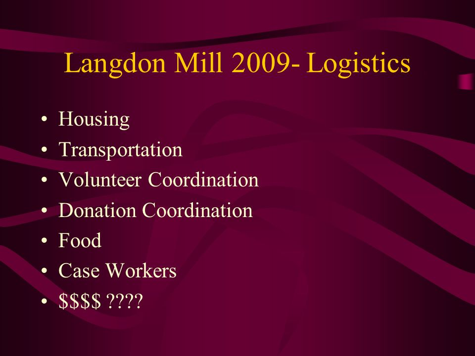 Langdon Mill 2009- Logistics Housing Transportation Volunteer Coordination Donation Coordination Food Case Workers $$$$ ????