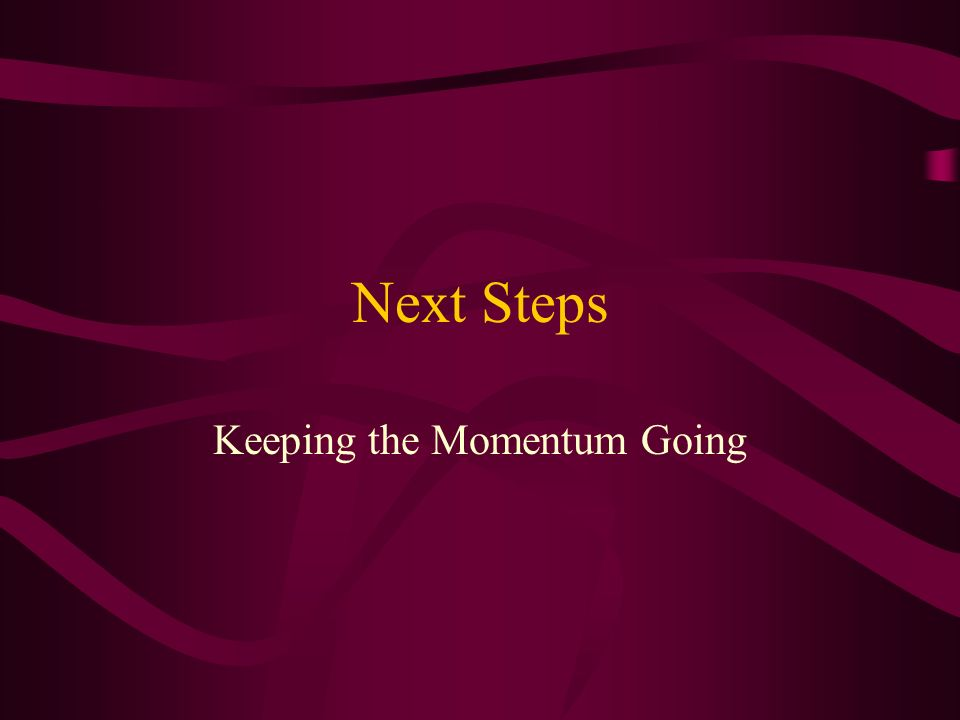 Next Steps Keeping the Momentum Going