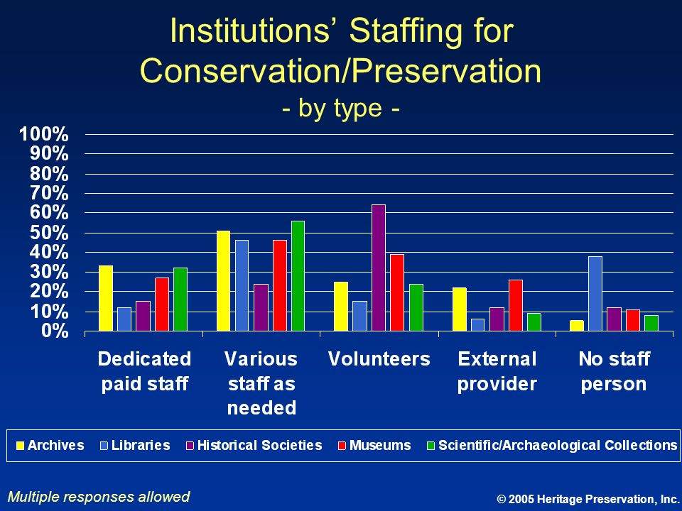 © 2005 Heritage Preservation, Inc. Institutions Staffing for Conservation/Preservation - by type - Multiple responses allowed
