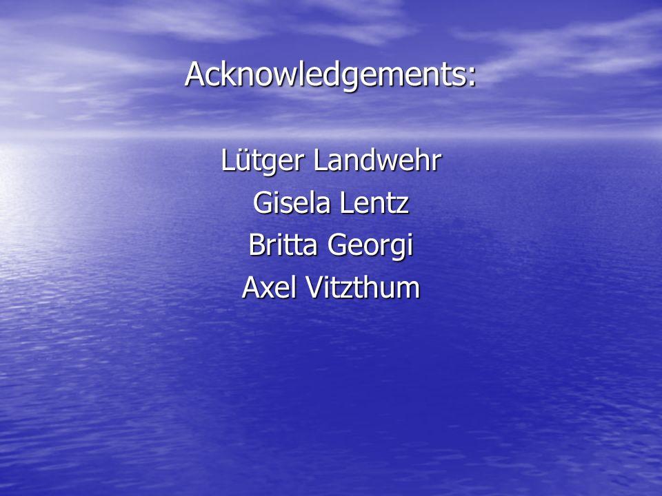 Acknowledgements: Lütger Landwehr Gisela Lentz Britta Georgi Axel Vitzthum